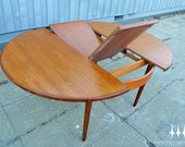 Mid Century Modern Round G Plan Butterfly Leaf Teak Dining Table