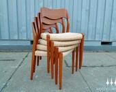 Set of Four Danish Modern Moller Model 71 Teak Dining Chairs