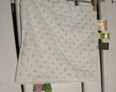Baby Snuggle Blankey- Soft Cream with Pink/Green/Brown and Monkey Tags