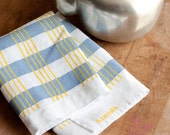 Linen Tea Towel - Slate Grey and Yellow Plaid