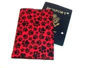 Dog Passport Cover red paw print passport case