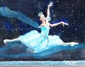 Snow Queen- Fine Art Print- Dance Art- Holiday Decor- Winter Art- Nutcracker- Ballert Art- Gift for Dance Teacher