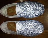 Hand-Painted Custom Toms Navy on White