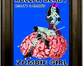 Roller Derby Zombie Art Print 8 x 10 -  Pin Up Sitting on Brain
