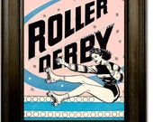 Roller Derby Art Print 8 x 10 - Advertisement Roller Skating Pinup Pin Up