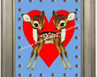 Siamese Twins Deer Sideshow Art Print 8 x 10 - Whimsical Kawaii - Hearts