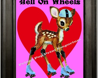 Roller Derby Art Print 8 x 10 - Whimsical Roller Skating Deer Hell on Wheels