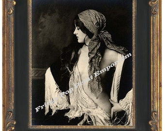 Gypsy Flapper Art Nouveau Art Print 8 x 10 - Profile Shot