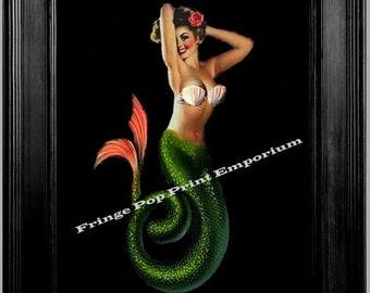 Mermaid Pin Up Art Print 8 x 10 - 1950s Rockabilly