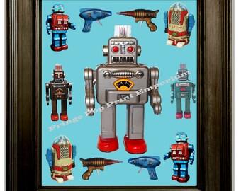 Retro Japanese Robot Art Print 8 x 10 - Collage Technie Geek Geekery