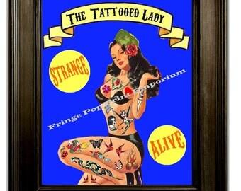 Tattooed Lady Pin Up Tattoo Art Print 8 x 10 Art Sideshow Freakshow