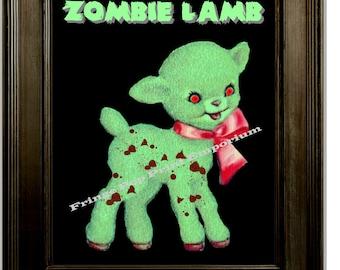 Zombie Lamb Art Print 8 x 10 - Psychobilly Goth Horror