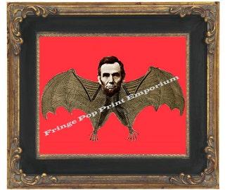 Victorian Abraham Lincoln as Bat Art Print 8 x 10 - Goth Gothic Horror