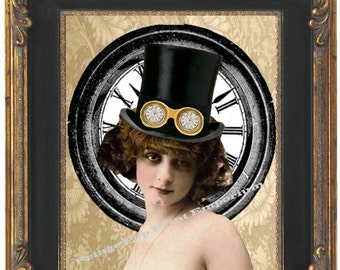 Steampunk Flapper Woman Art Print 8 x 10 - Altered Art with Clock and Goggles