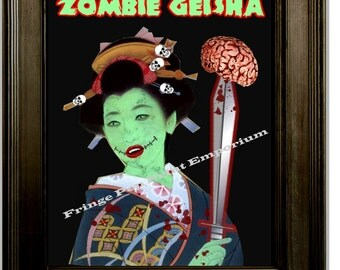 Zombie Geisha Japanese Art Print 8 x 10 - Pop Surrealism Psychobilly Goth Horror
