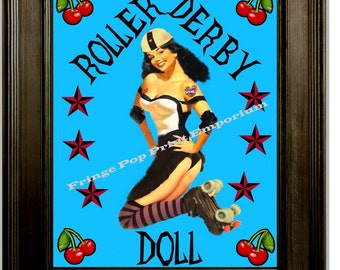 Roller Derby Art Print 8 x 10 - Doll Roller Skating Cheries Pinup Pin Up