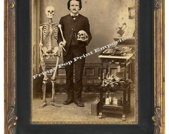 Victorian Edgar Allan Poe With Skeleton Art Print 8 x 10 - Altered Art Cabinet Card Style
