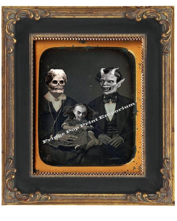 Victorian Monster Family Art Print 8 x 10 Devil - Macabre - Goth Dark Art - Altered Art