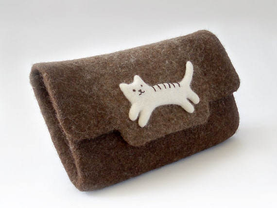 Natural brown felt clutch with Cat, eco-friendly