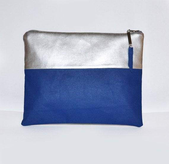 Mini Cobalt Blue and metallic Clutch Bag
