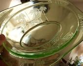 "Vintage HTF Rare Sylvan ""Parrot"" Oval 10"" Green Vegetable Bowl Depression Glass"