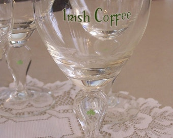 """Stemmed Waterford """"IRISH COFFEE"""" Wine or Kahlua coffee liqueur 24K Gold-trimmed Glasses 5-3/4 Inches"""
