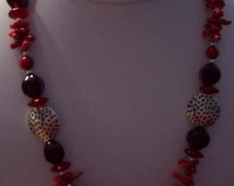 """Love, Why Not Show Your Love On Valentines Day - RED CORAL Red Czech Pressed Glass 20"""" Necklace"""