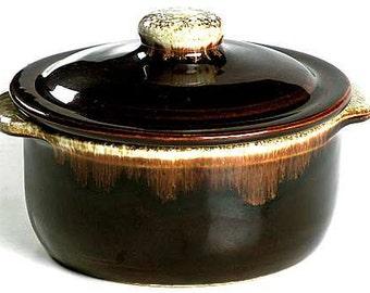 Vintage HTF Pfaltzgraff Gourmet Brown 2 Quart Round Casserole c1950s