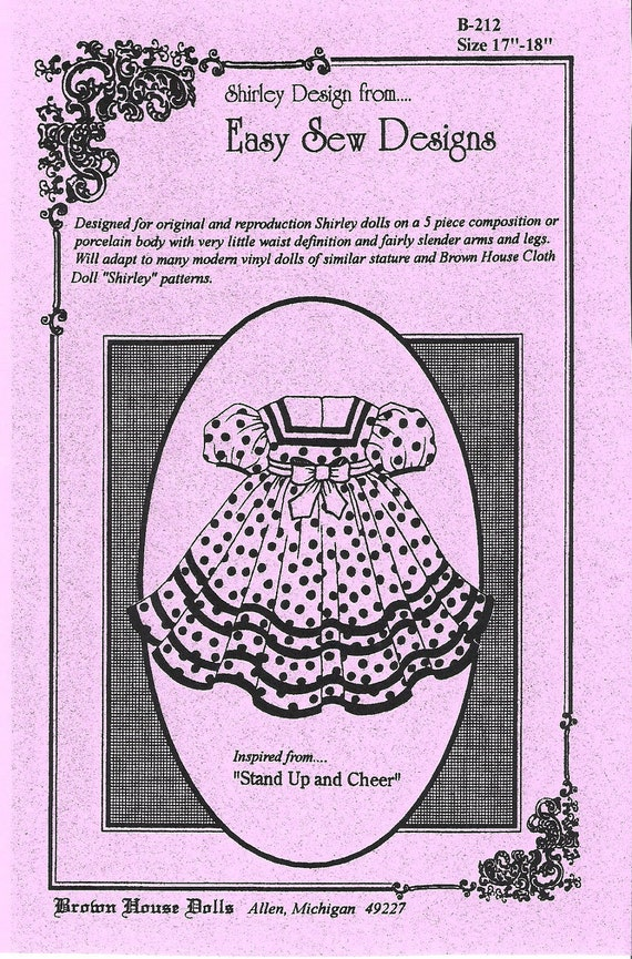 STAND UP & CHEER Pattern inspired from the Original Shirley Temple Doll 1950s