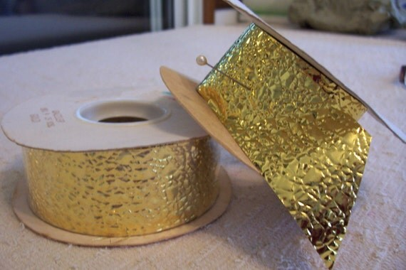 """NWT: Two Rolls """"GOLD"""" Foil Ribbon 25 Yards No.9 CLOSEOUT"""