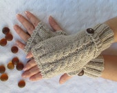 Beige Fingerless Gloves With Wooden Buttons,Knitting Pattern, Hand Arm Warmers,Winter Accessories, Fall Fashion,Mittens