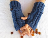 Navy BlueFingerless Gloves With Wooden Buttons,Knitting Pattern, Hand Arm Warmers,Winter Accessories, Fall Fashion,Mittens