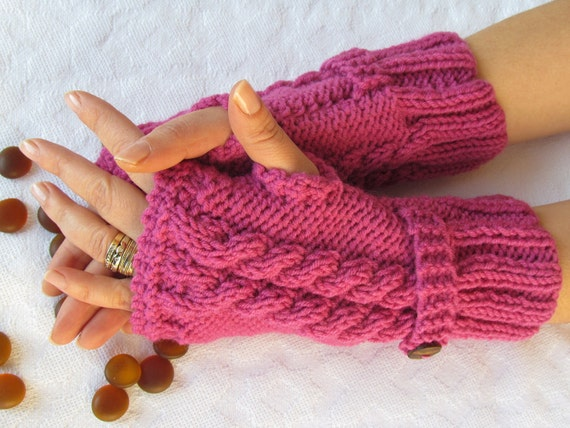 Pink Fingerless Gloves With Wooden Buttons,Knitting Pattern, Hand Arm Warmers,Winter Accessories, Fall Fashion,Mittens