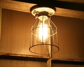 Industrial Light Vintage Style Porcelain Mount Fixture with Metal Wire Cage Guard