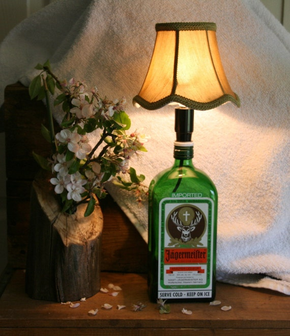 Repurposed - Liquor Bottle Lamp - Great for the College Dorm Room - Unique Gift for Young Adult