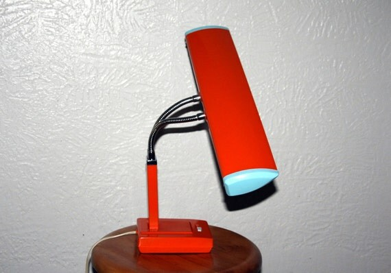 Vintage retro Desk Light with Double Gooseneck - Office Lamp  - Refinished in industrial  Orange and Baby Blue