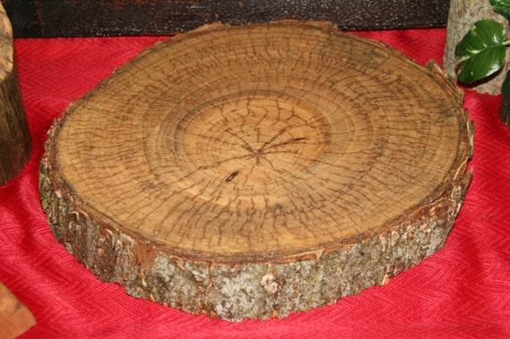 "12-13"" Tree Slab - Trunk Slice - Cake Stand, Wood Charger, Center Piece, Decoration, Sanded & Finished"