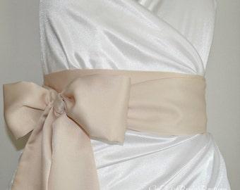 Champagne Satin Bridal Sash Belt, Bridesmaid Sash