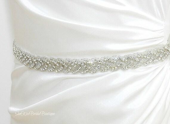 BRIE Braided Rhinestone Bridal Sash,Beaded Crystal Sash,Bridesmaids,Wedding Gown Belt