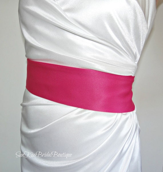 Simple Bridal Sash in Fuchsia or Any Color,Hot Pink Matte Satin Sash,3 inch Wide,Bridesmaids Belt