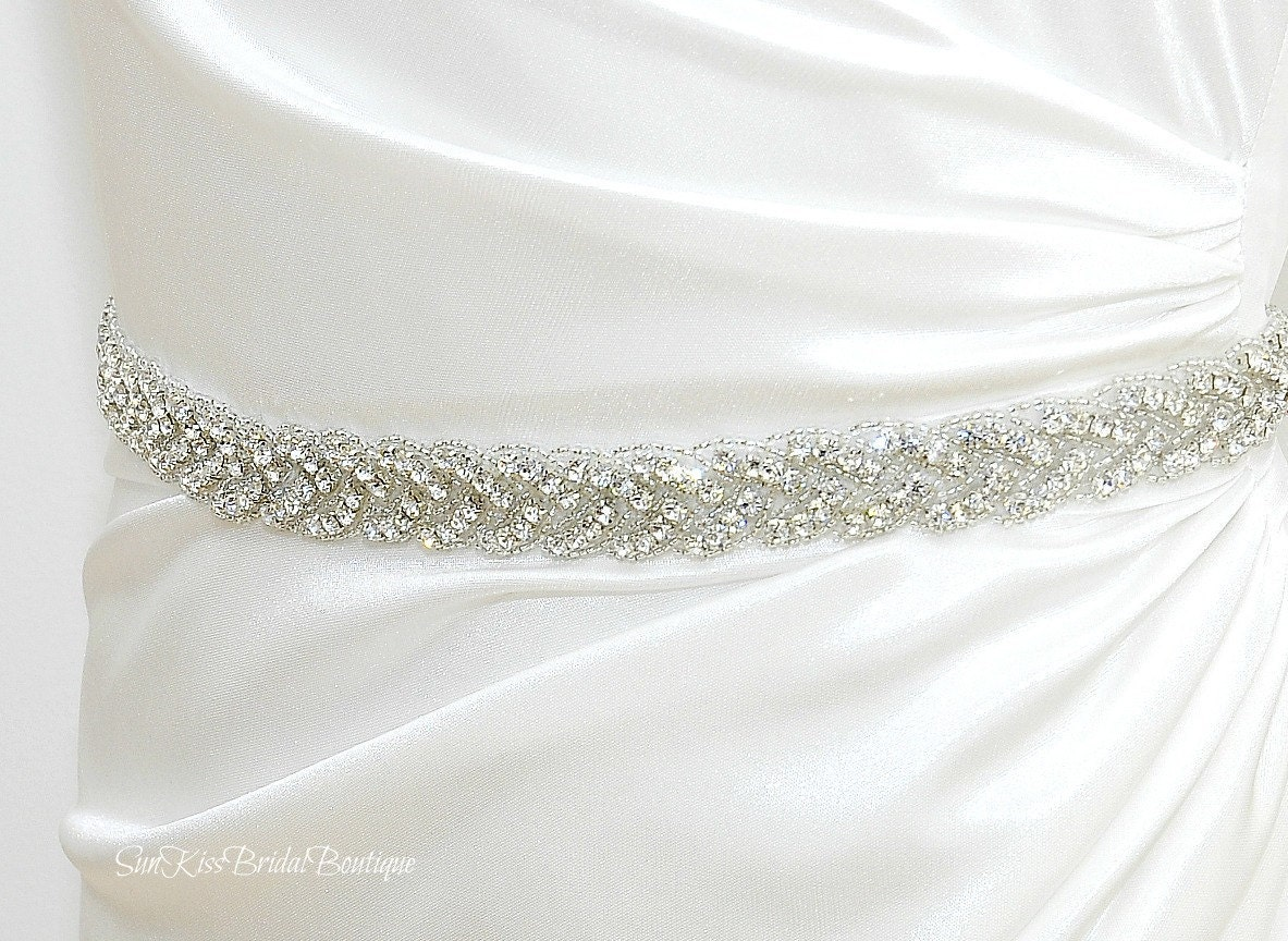Brie Braided Rhinestone Bridal Sashbeaded Crystal
