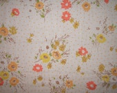 Vintage Sheet FQ Orange Polka Dot Yellow and Orange Flowers