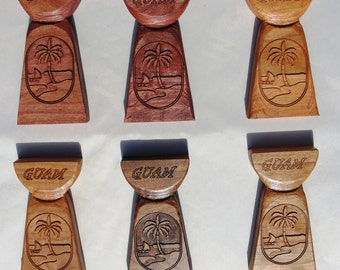 Latte Stone - Guam Seal carved in Cherry wood