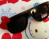 Black Hello Kitty Wayfarer Style Sunglasses with Signature Red Bow
