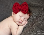 Newborn Photo Prop - Big Bow Headband in Red - Made to Order