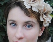 Bridal Art Nouveau head piece fascinator - bohemian flapper 1920s - hand beaded antique ivory roses by Swan and Stone Millinery
