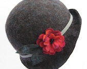 Hand-felted cloche hat, true 1920s style - navy with hand-beaded felt flower and needle felted leaves Swana nd Stone original, Made to Order