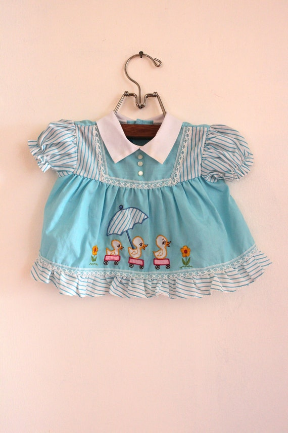 Vintage Baby Girl Ducky Dress w. Bloomers