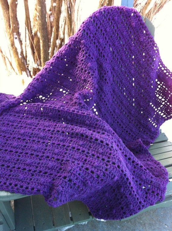 Crocheted afghan purple blocks with popcorn centers and lacy openwork--Sale--25% off--READY to SHIP