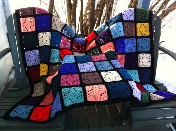 Kaleidoscope crocheted afghan stained glass kaleidoscope of diamonds READY TO SHIP